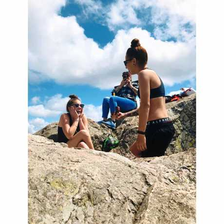 Sharni Brooke Mold proposed to Toni Filetti when they reached the peak of Mount Larcom on Sunday.