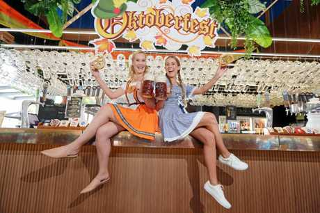Hannah Roscoe (L) and Jade Madeley in traditional German costume at The Bavarian.