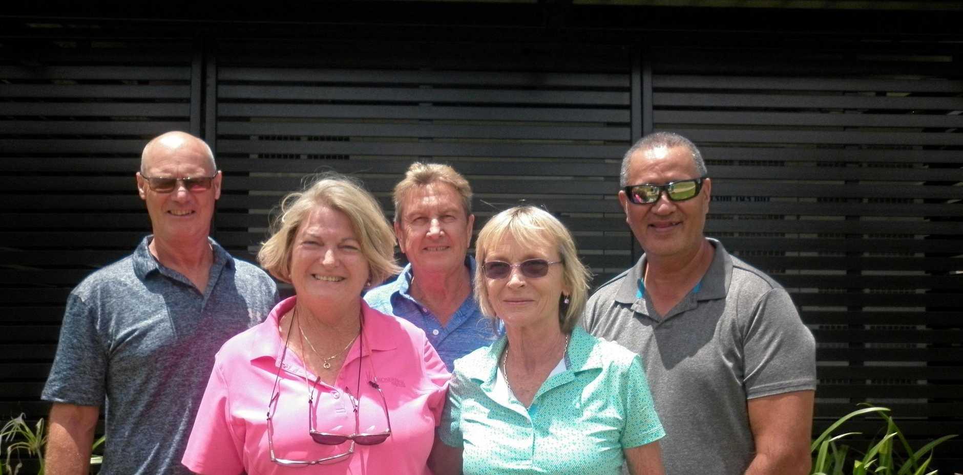 Whitsunday Golf's leading lights. Back row : Geoff Harrison,  Ernie Holstein, Ricardo Tauri; Front row : Anna Winterbourn, Sally Little.