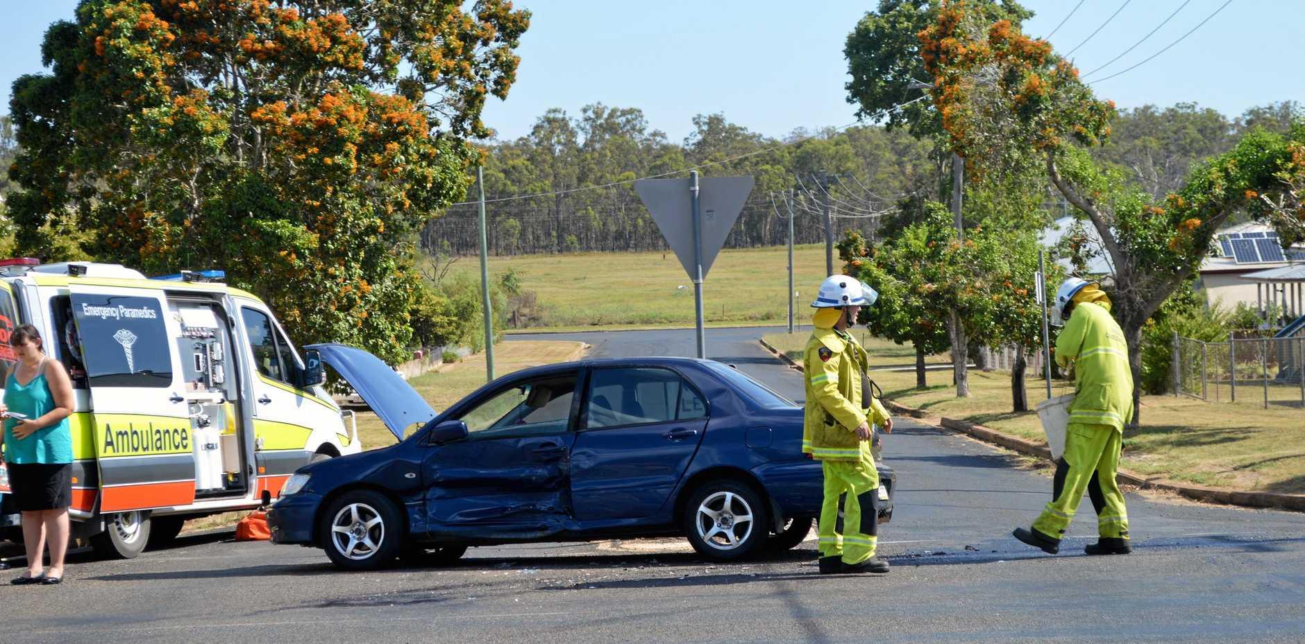 Crash at Moonya Street and Haly Street, Kingaroy on Monday afternoon.