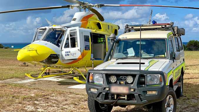 A MAN in his 20s is recovering in hospital after he was injured in a motorbike crash on Fraser Island.The Bundaberg RACQ LifeFlight Rescue helicopter arrived on the scene at the northern end of the island just before 3pm.
