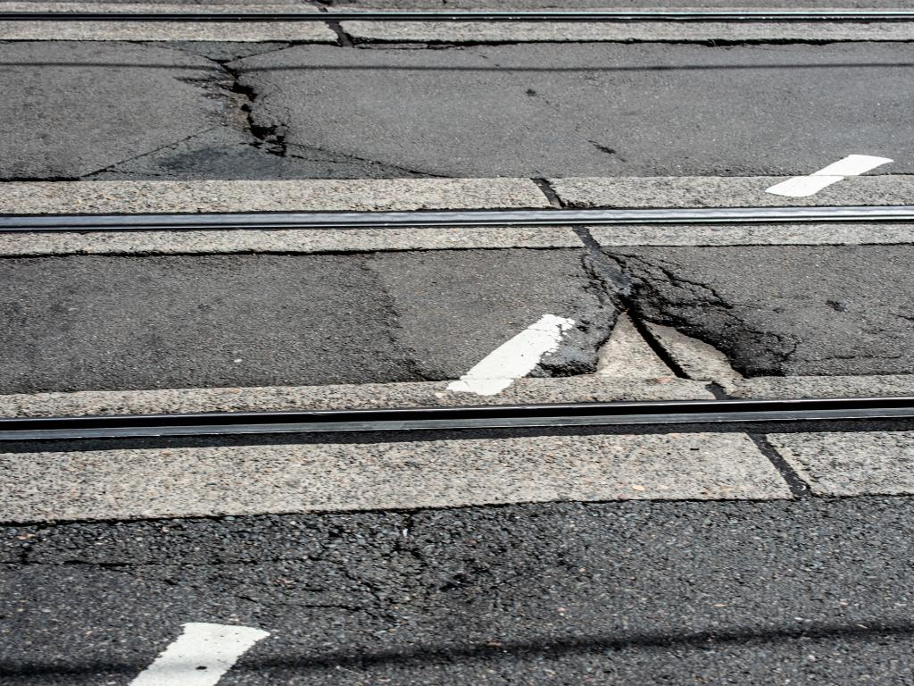 Damaged roads have caused a spike in the number of tyres being blown. Picture: Monique Harmer