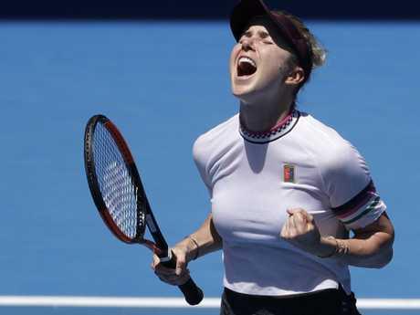 Ukraine's Elina Svitolina celebrates her win against Madison Keys.