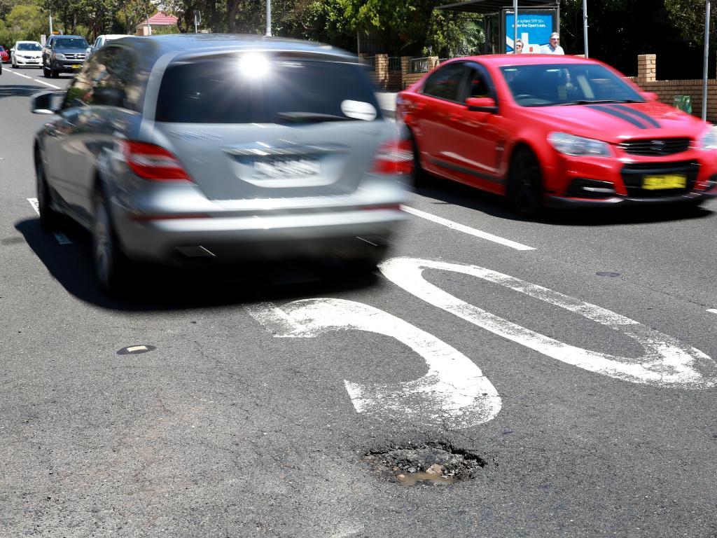 A pothole on Bondi Rd in Bondi. Picture: Toby Zerna