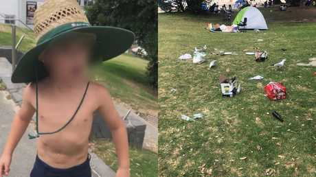 The rubbish left by the unruly British tourists, while one boy threatened he'd 'knock the brains out' of locals.