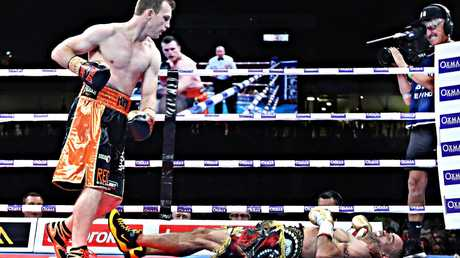 Jeff Horn knocks out Anthony Mundine. Picture: Annette Dew