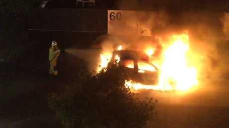 A car was torched at Biggera Waters, Saturday night.