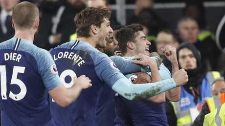 Tottenham Hotspur's Harry Winks celebrates . (AP Photo/Frank Augstein)