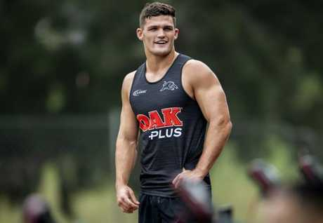 Nathan Cleary trains with the Panthers.