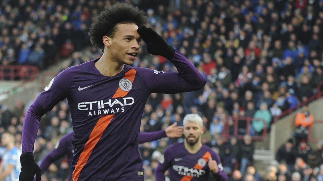 Manchester City's Leroy Sane celebrates. (AP Photo/Rui Vieira)