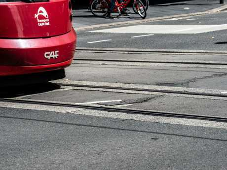 Damage along the tram line at the intersection on Pitt Street and Hay St last week. Picture: Monique Harmer