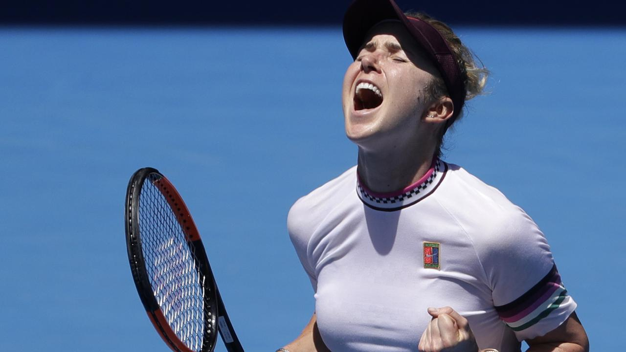 Ukraine's Elina Svitolina celebrates after defeating United States' Madison Keys during their fourth round match at the Australian Open tennis championships in Melbourne, Australia, Monday, Jan. 21, 2019.(AP Photo/Mark Schiefelbein)