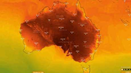 Heat is bubbling up in Central Australia, ready to head back down to the southern states. Picture: Windy