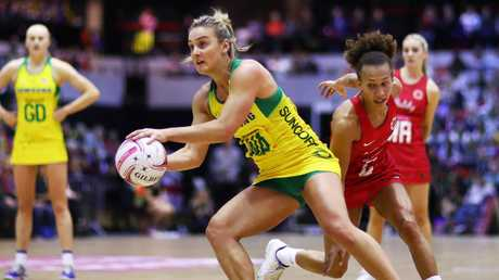 Elizabeth Watson in action for the Diamonds against England. Picture: Getty Images