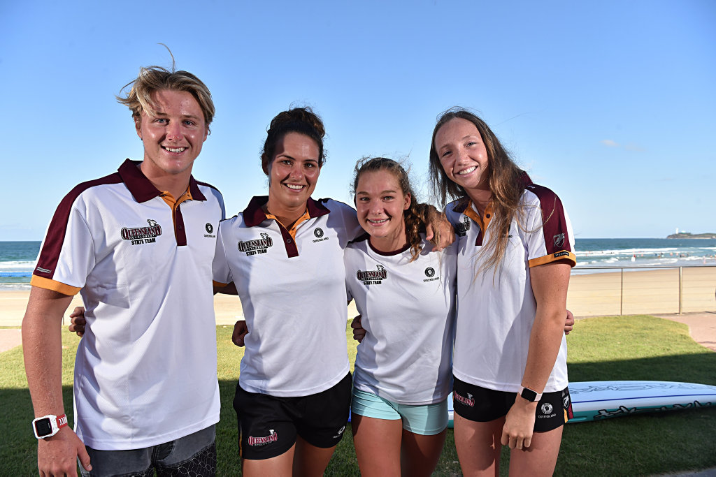 Image for sale: Surf Lifesavers ready for to represent Queensland in the interstate championships.Cooper Williams, Tiarrn Raymond, Tayla Halliday and Lucinda Kelly.