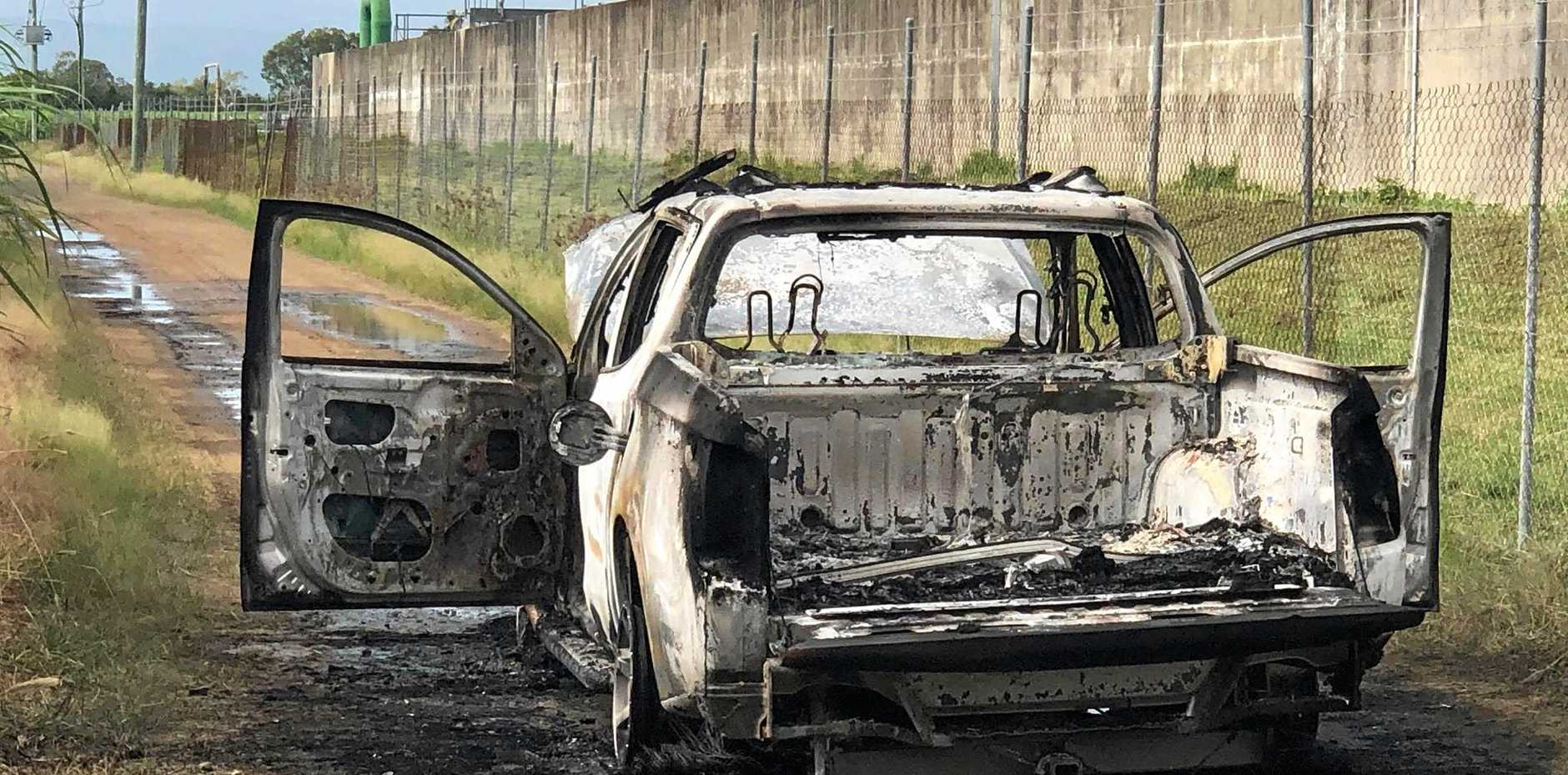A car that is suspected to be stolen was found torched near the water treatment plant at Bakers Creek this morning.