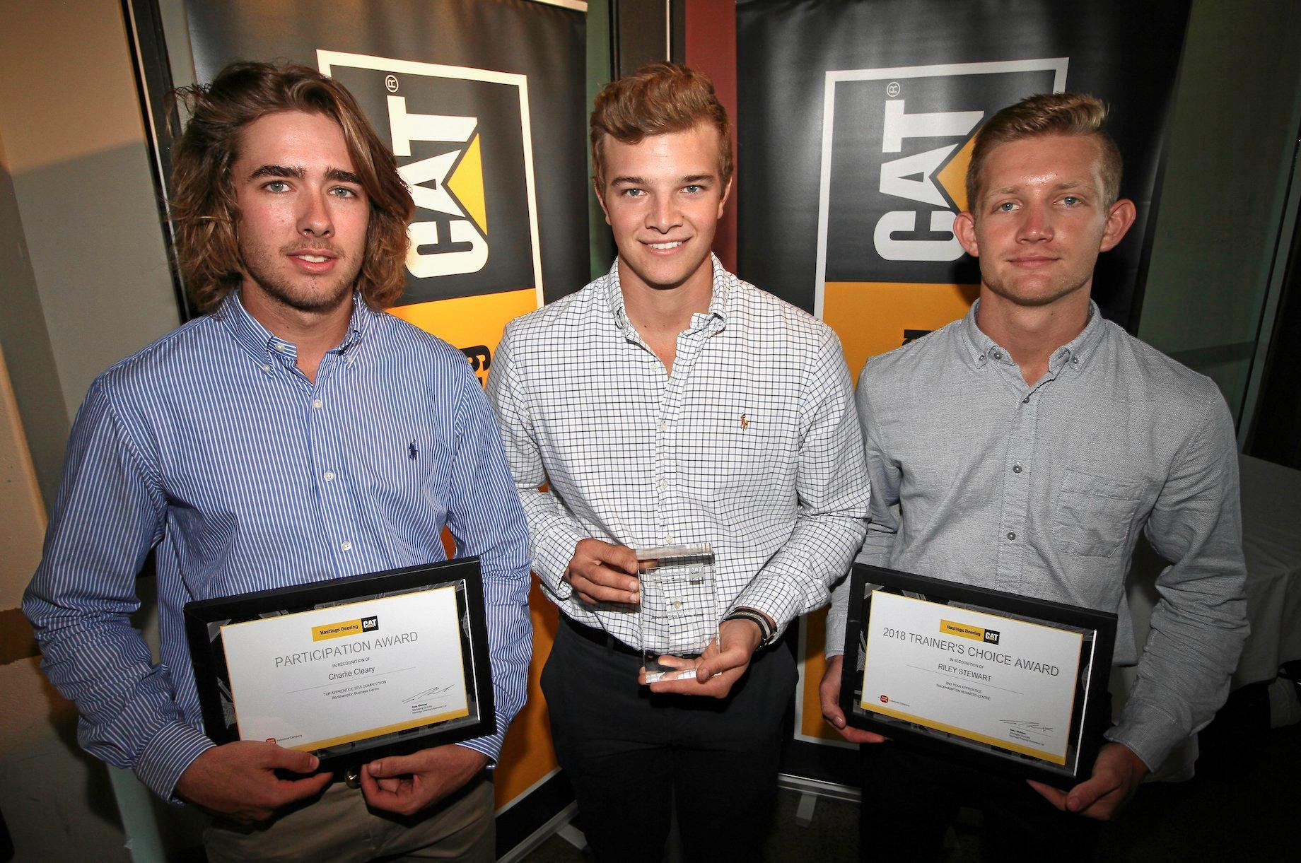 TOP WINNERS: Rockhampton's Charlie Cleary was awarded an Apprentice of the Year finalist and Riley Stewart the Trainers Choice Award winner. Pictured with winner Tom Bourne, Toowoomba.