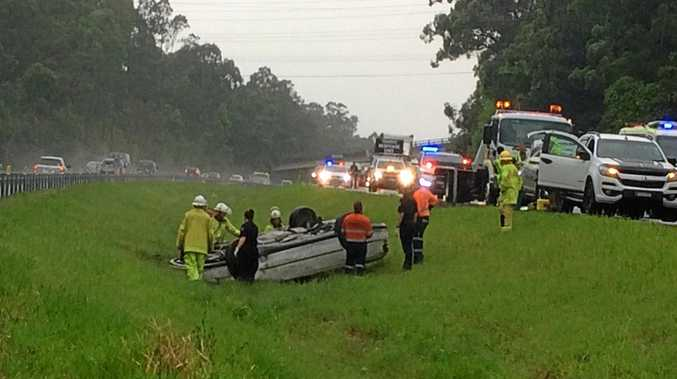 Four people were hurt in this crash which left northbound lanes of the Bruce Hwy blocked.