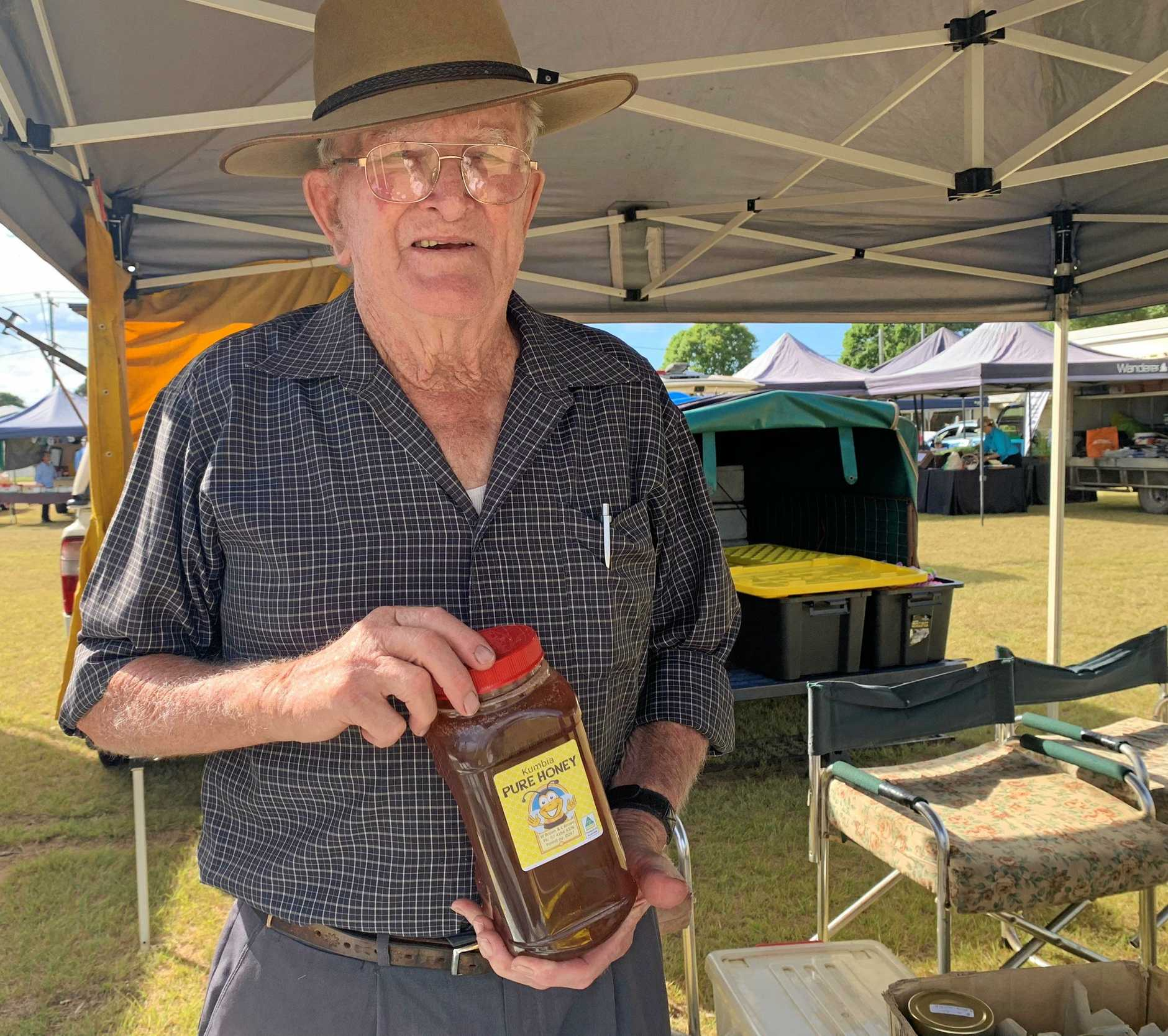 Joe Brown is selling honey by the jar at the Kingaroy markets