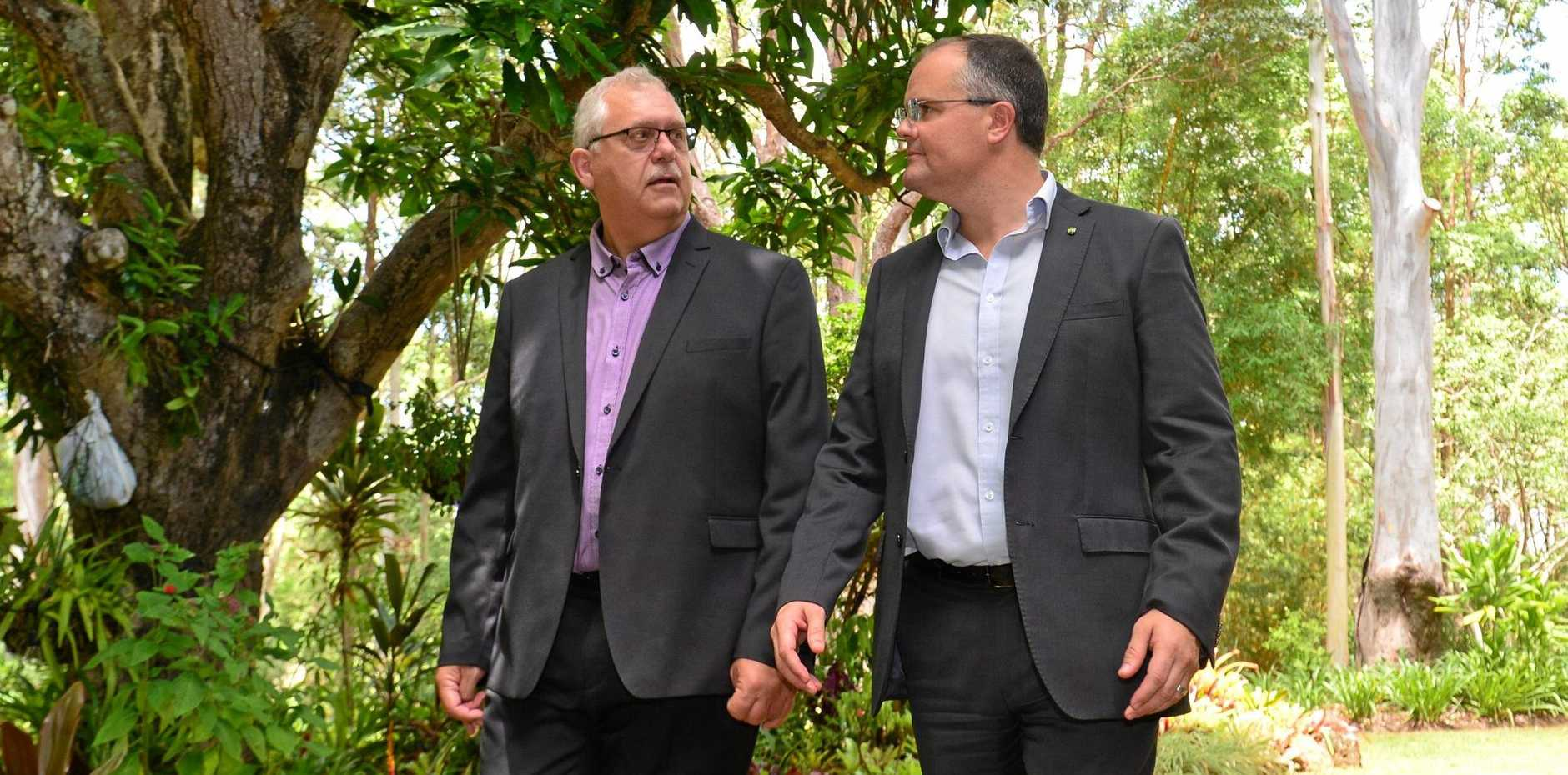 CALL FOR HELP: CEO Chris Franck and Ted O'Brien at Bloomhill Cancer Charity in Buderim discuss the need for funding to help the facility survive.