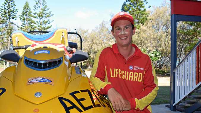 YOUNG HERO: Jacob Crothers, 19, rescued a family of five from the ocean at Elliott Heads today after they were caught in a strong rip.
