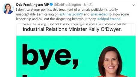 Queensland LNP leader Deb Frecklington condemned the slur from the Facebook account 'Union News Australia' which has since been suspended.