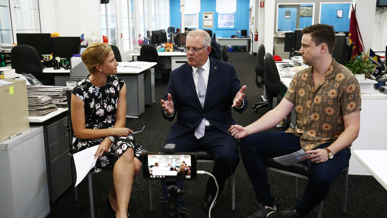 Australian Prime Minister Scott Morrison (centre) answers questions about Cairns and Far North Queensland from Cairns Post editor Jennifer Spilsbury and Cairns Post political reporter Chris Calcino. PICTURE: BRENDAN RADKE.