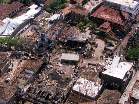 The wreckage of the Sari nightclub pictured in 2002. More than 200 people were killed in the Bali bombings. Picture: AP/Achmad Ibrahim