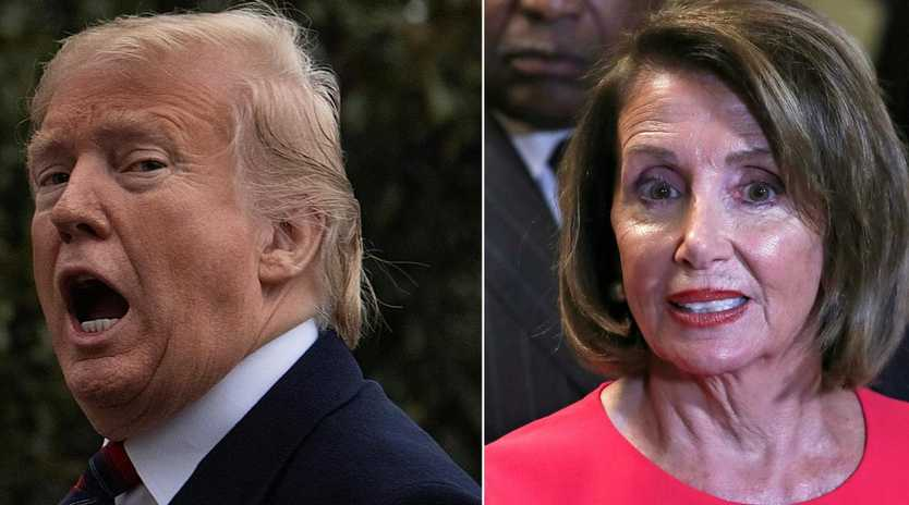 It's Mr Trump vs Ms Pelosi, as the House speaker on Saturday called the President's offer of temporary protections for about a million immigrants in return for wall funding a 'non-starter'. Picture: Jim Watson and Alex Edelman / AFP