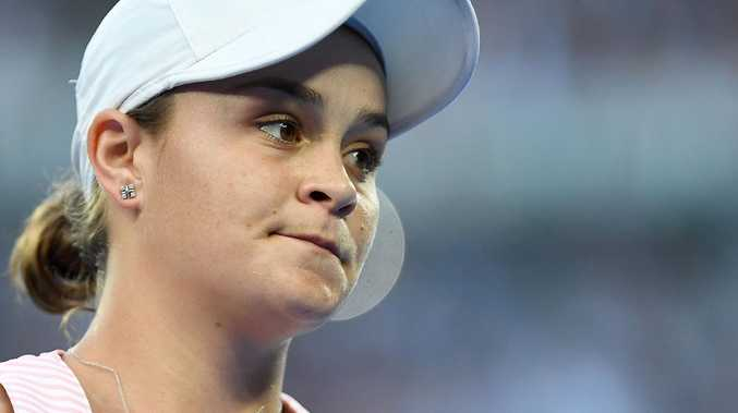 Ashleigh Barty has been knocked out of the Australian open by Petra Kvitova. (AAP Image/Lukas Coch)