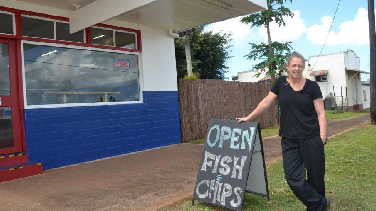 Carolyn Kerr's fish and chip shop front remains blank after controversy over her business name.