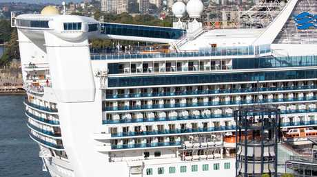 Crew conducted a desperate search on board the Golden Princess cruise ship for the missing man. Picture: Martin Berry.