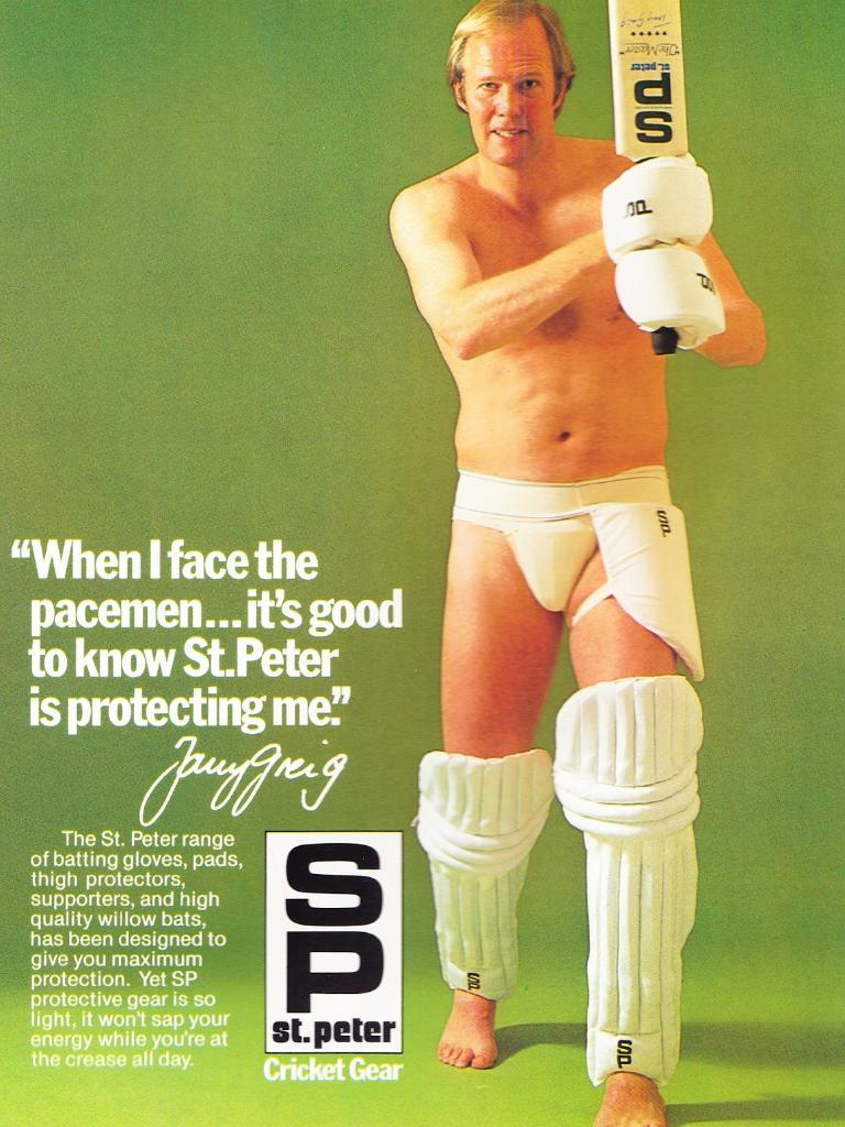 Tony Greig promotes the SP bat – and other protective gear – in 1979.
