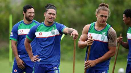 Chanel Harris-Tavita (right) is in contention for a Warriors' halves role.
