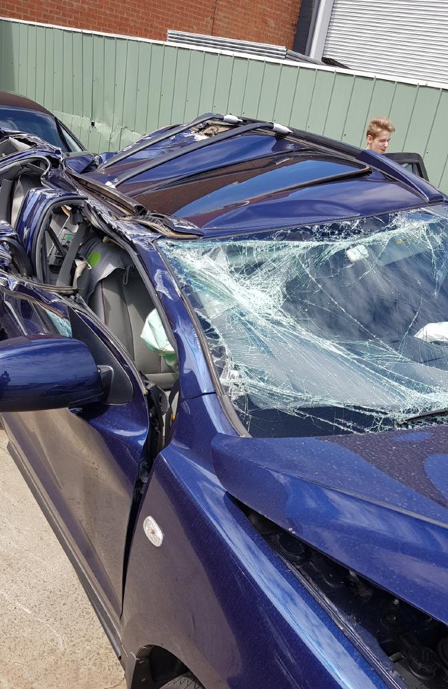 Nella Lettieri's crushed car. Picture: Supplied
