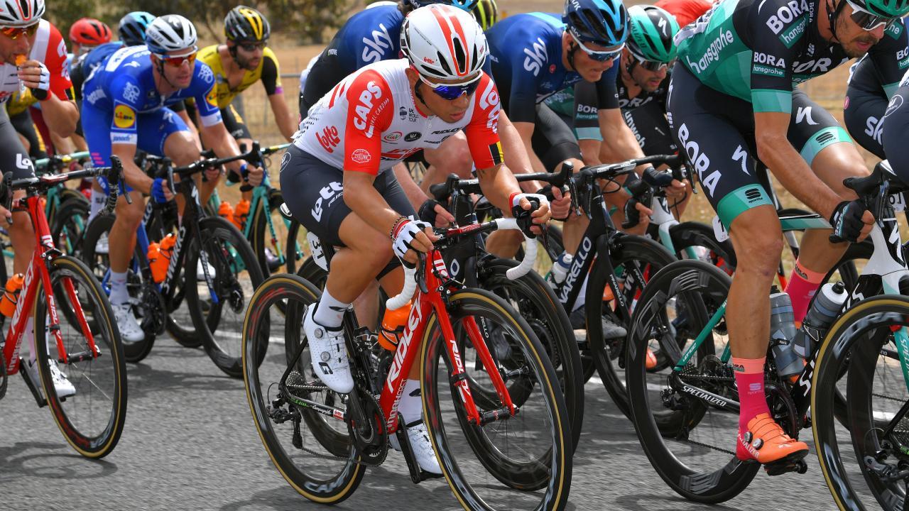 Caleb Ewan in the peloton during the Tour Down Under.