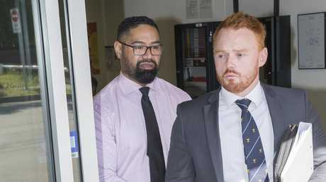 Sacked Corrective Services NSW officer Lawrence O'Driscoll-Faitaua (left) leaves Waverley Court being charged with impersonating a police officer to get a discount at a fast food restaurant.