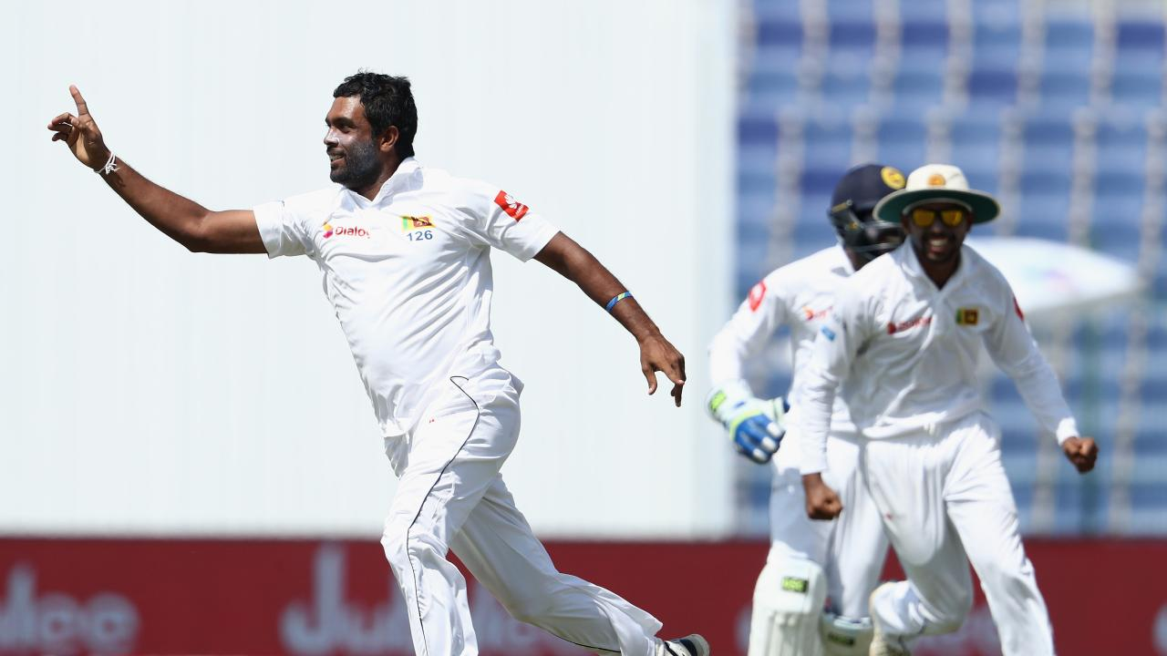 Dilruwan Perera celebrates after dismissing Shan Masood of Pakistan during Day Five of the First Test between Pakistan and Sri Lanka on October 2, 2017.
