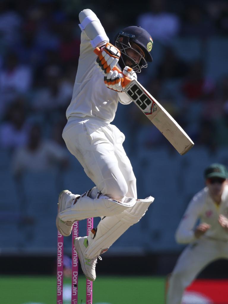 India's Ravindra Jadeja fends away a bouncer with his Sareen Sports bat. Picture: AP Photo/Rick Rycroft