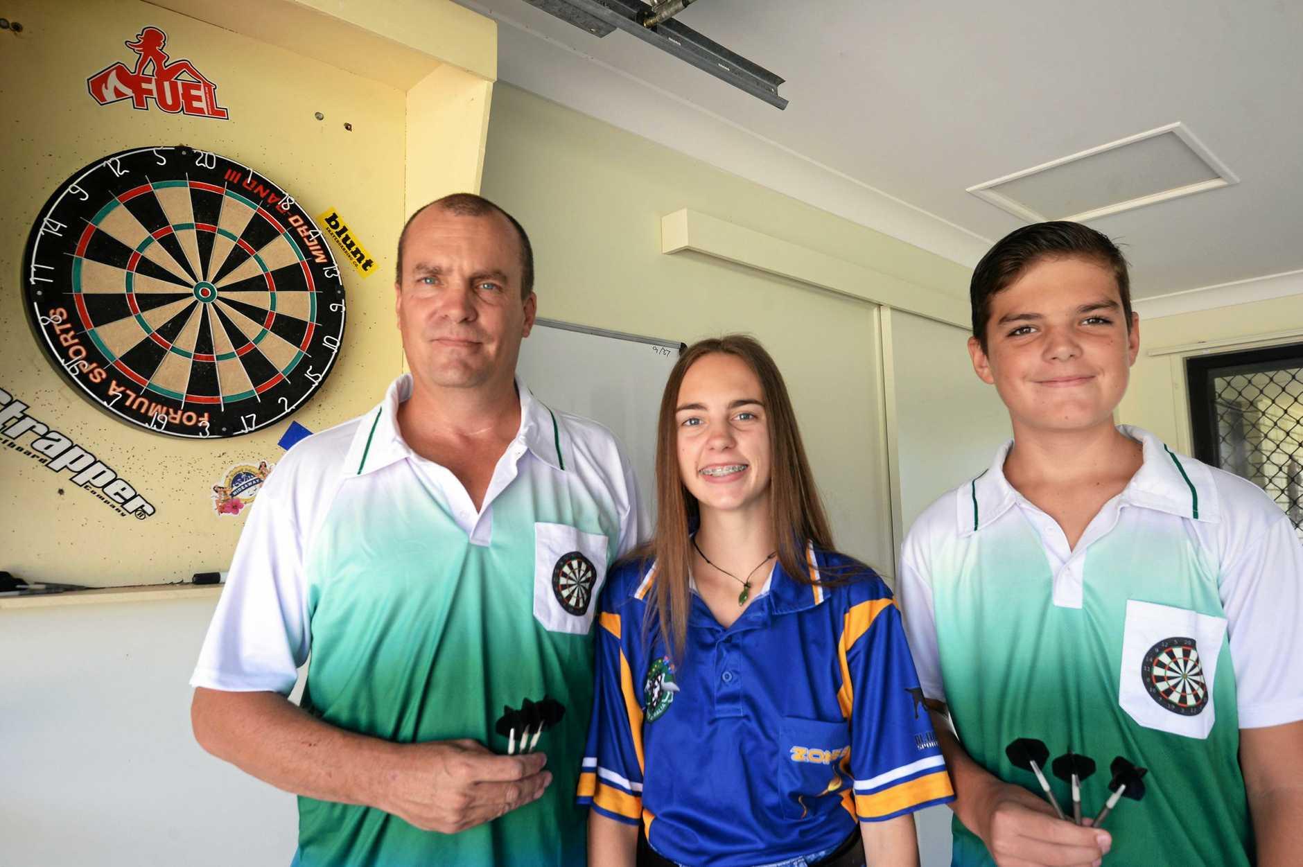Dean Abbott with his children Taryn and Hayden.