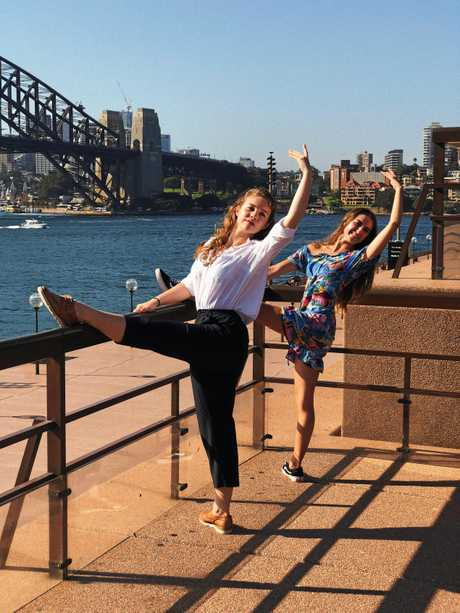Rockhampton dancer Keeley Tzoutzias at the Sydney Opera House and Harbour Bridge of part of her workshop in the city from the Central Queensland Performing Arts Foundation youth bursary.