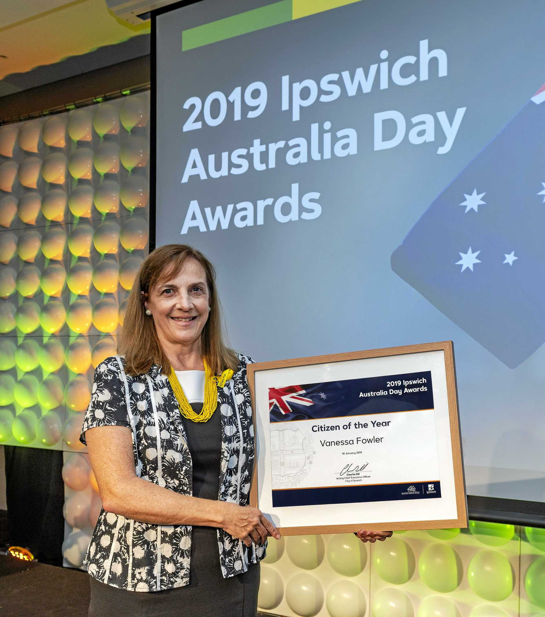 CHAMPION: For her work with the Allison Baden-Clay Foundation, Vanessa Fowler was named Citizen of the Year at Ipswich City Council's Australia Day Awards.