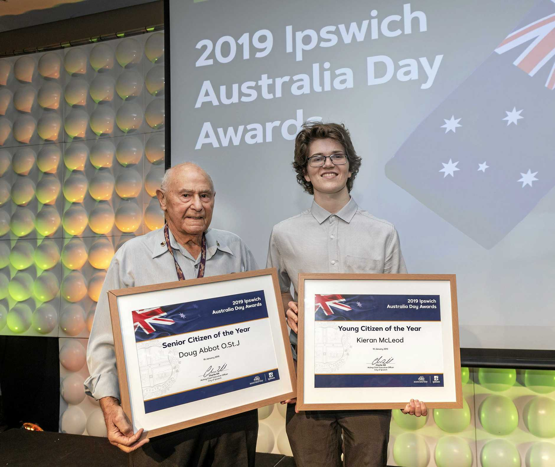 Senior Citizen Doug Abbot and Young Citizen of the Year Keiran McLeod at Ipswich City Council's Australia Day Awards.