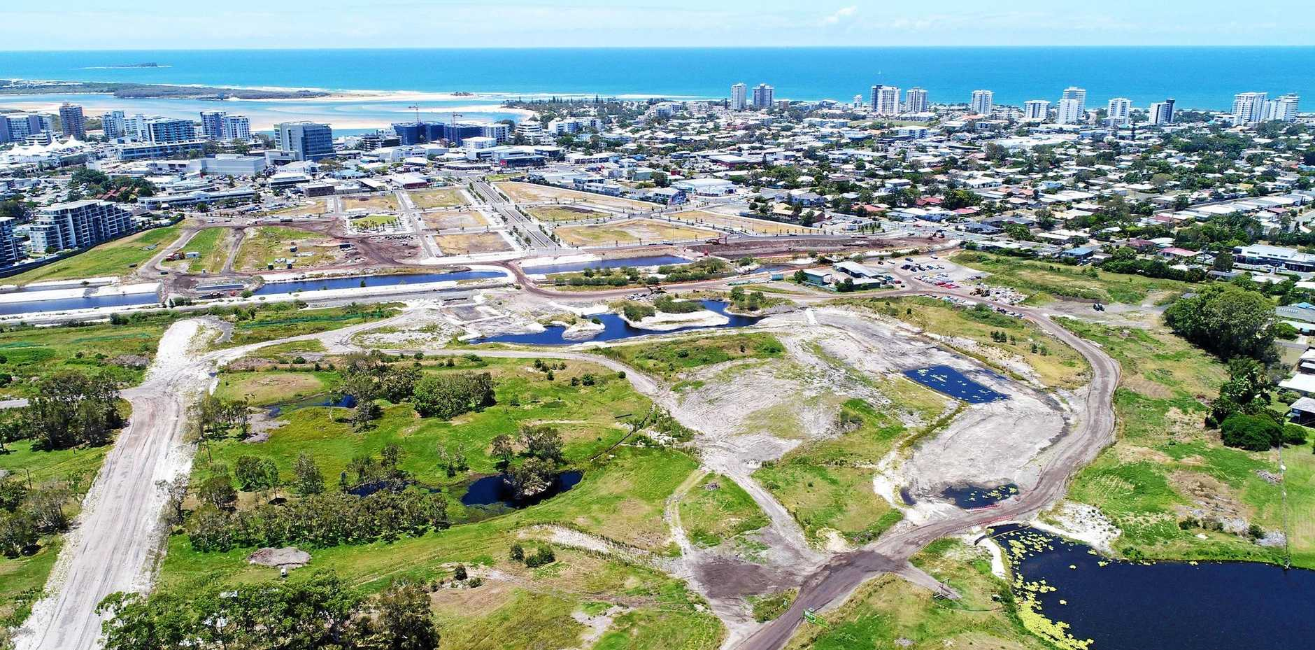 Aerial footage shows progress at the Maroochydore city centre development site.