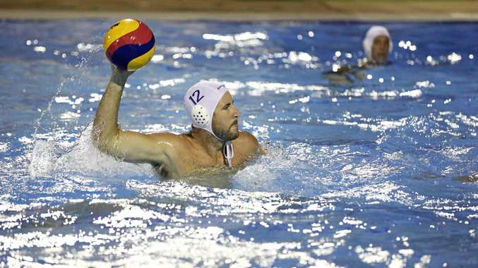 POWER SHOT: Lennox Head's Nathan Durkin shapes for a shot at goal in FNC Water Polo competition at Ballina on Monday night.