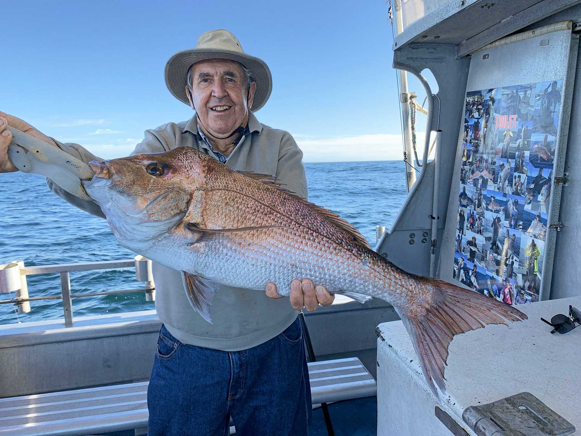 SNAPPING UP A CATCH: Long-time angler, Chatsworth Island's Don Causley hooked on to this monster 5.2kg snapper on a trip offshore with the team at Reeltime Charters at the weekend. The fish was caught in the grounds off Black Rock.