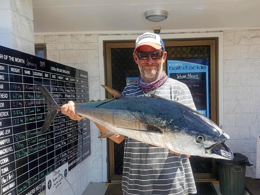 ON THE REELS: A regular on the fishing pages, Dan Pianta was back at it again hauling in this 14kg long-tail tuna. It coupled nicely with his cobia of 18.700kg with both fish weighed in at Iluka Bait and Tackle.