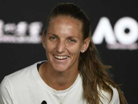 Pliskova was all smiles when speaking with media after the match. Picture: AP