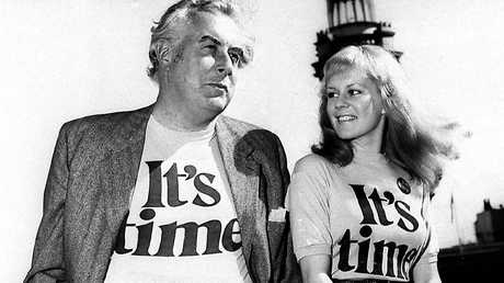 Labor Leader Gough Whitlam, who would later become Prime Minister with singer Little pattie during the ALP 'It's Time' campaign for the 1972 Federal Election.