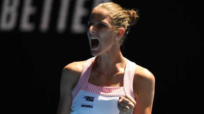 Karolina Pliskova screams after winning a point during her epic comeback against Serena Williams. Picture: AFP